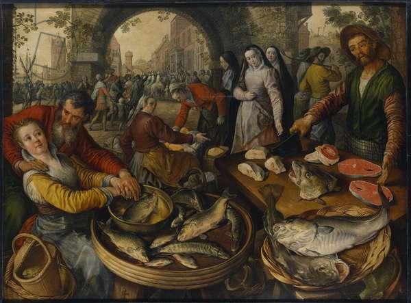 Un marche au poissons avec scene de Ecce Homo - A Fish Market with Ecce Homo, by Beuckelaer, Joachim (ca. 1533-1574). Oil on wood, 1570. Dimension : 151x202 cm. Nationalmuseum Stockholm