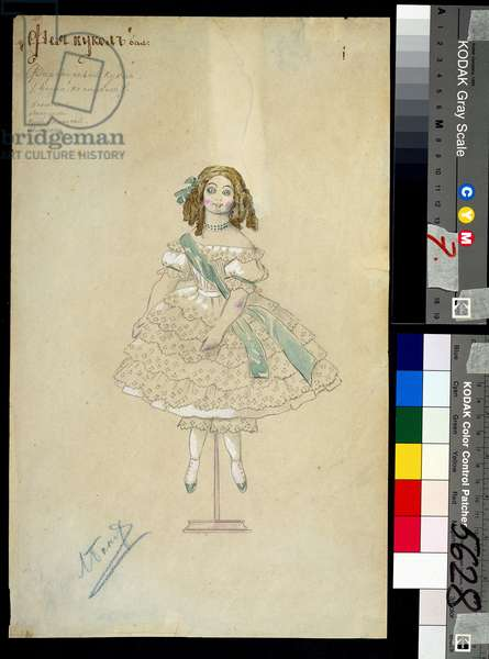 "Costume for the ballet ""la poupee feerique"" directed by Joseph Bayer (1852-1913), 1903 (watercolour)"