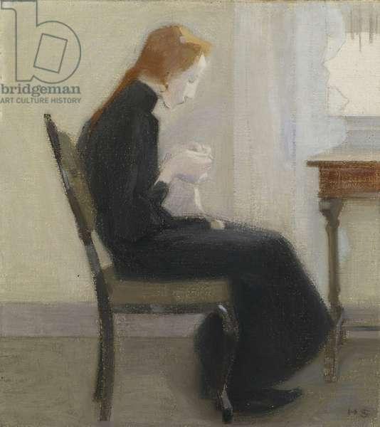 Jeune fille faisant du crochet - Girl crocheting, by Schjerfbeck, Helene (1862-1946). Oil on canvas, 1904. Sampo Group, Turku
