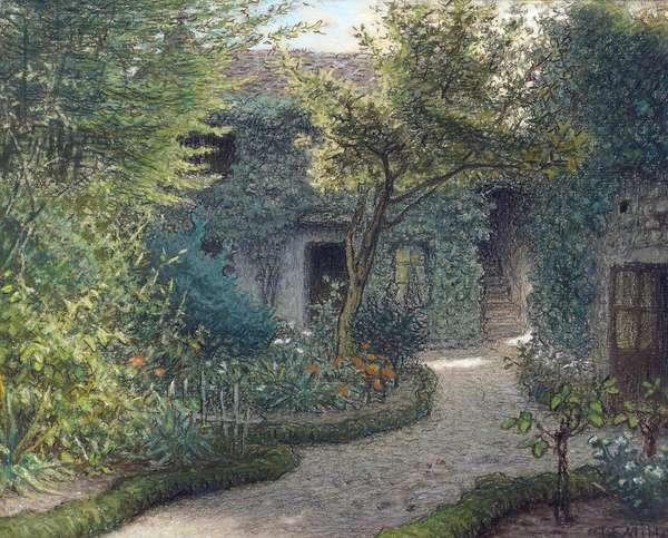 """""""""""La maison de Theodore Rousseau (1812-1867) a Barbizon"""""""" (House of Theodore Rousseau in Barbizon) Peinture de Jean Francois (Jean-Francois) Millet (1814-1875) Collection privee"""