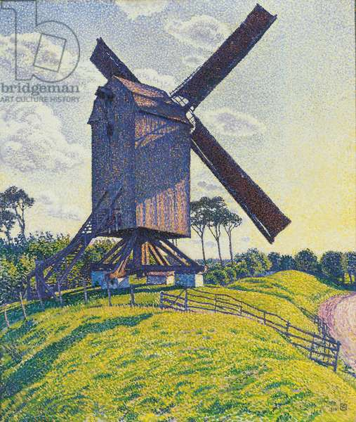 Moulin a vent dans les Flandres - Kalf Mill in Knokke or Windmill in Flanders, by Rysselberghe, Theo van (1862-1926). Oil on canvas, 1894. Dimension : 80x70 cm. Private Collection