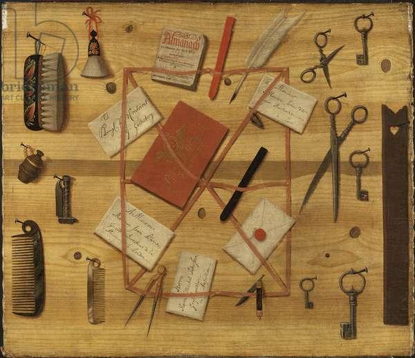 Ratelier a lettres - Letter Rack. Trompe-l'oeil, by Sommar, Hindric Sebastian (1702-1790). Oil on canvas, 1748. Dimension : 68x79,5 cm. Nationalmuseum Stockholm