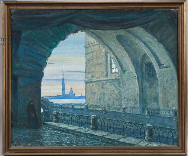Stage design for the opera 'The Queen of Spades' by Pyotr Tchaikovsky, 1930s (oil on canvas)