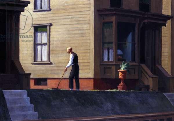 """""""""""Pennsylvania Coal Town"""""""" Peinture d' Edward Hopper (1882-1967) 1947 Butler Institute of American Art, Youngstown  Attention! L'utilisation de cette oeuvre peut etre soumise a une demande d'autorisation a un tiers ou au paiement de droits supplementaires"""