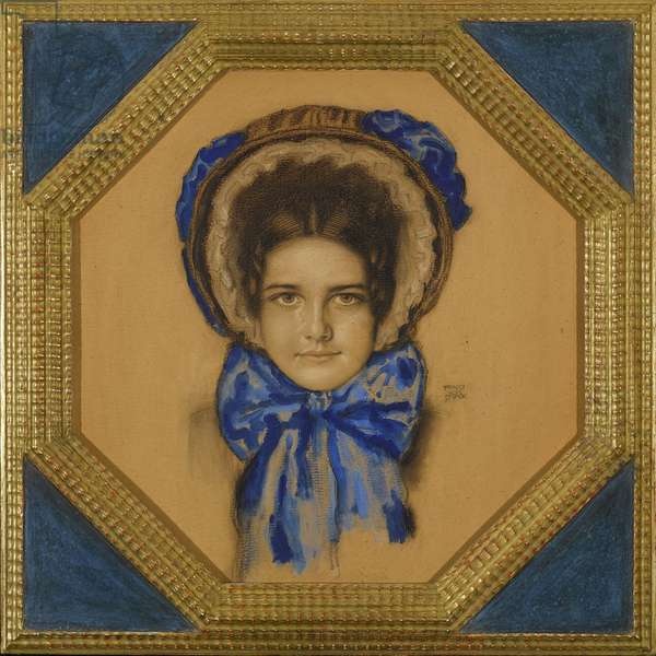 Marie avec un chapeau (type capot) - Daughter Mary with a Poke bonnet - Franz-Ritter (Franz Ritter) von Stuck (1863-1928). Gouache, pastel and coal on cardboard Dimension : 55x49,3 cm Private Collection