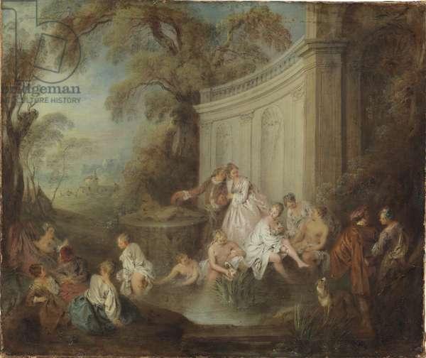 Une compagnie se baignant dans un parc - A Company Bather in a Park, by Pater, Jean-Baptiste (1695-1736). Oil on canvas. Dimension : 49x59 cm. Nationalmuseum Stockholm