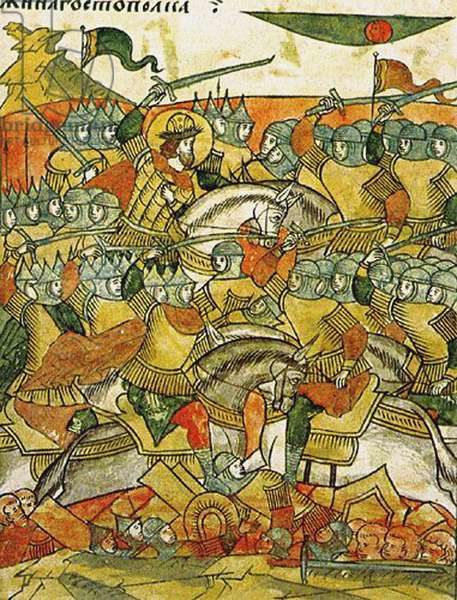 The Battle of Wesenberg on February 18, 1268, from the Illuminated Compiled Chronicle, second half of the 16th century (w/c on parchment)