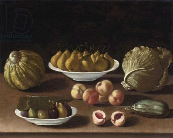 """""Nature morte aux poires, peches, figues, melon chou et courge"""" (Still life with pears, peaches, figs, a melon, cabbage and marrow) Peinture de Paolo Antonio Barbieri (1603-1649) Oil on canvas, 76,5x94 - Private Collection"