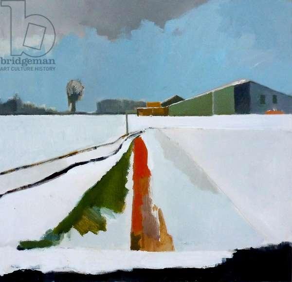 Barns in the Snow, Feltwell Anchor, The Fens, 2013 (acrylic on canvas)