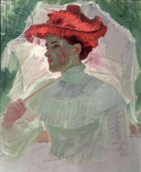 Woman with Red Hat and Parasol (oil on canvas)