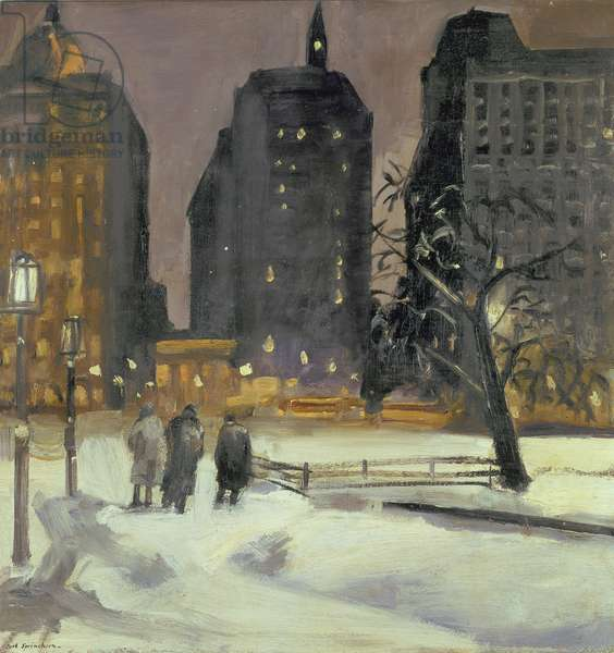 Winter Night, City Hall Park (Old Newspaper Row), 1927 (oil on panel)