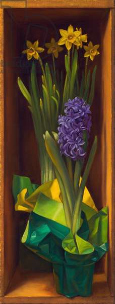 Blue Hyacinth with Daffodils, 2012 (oil on panel)