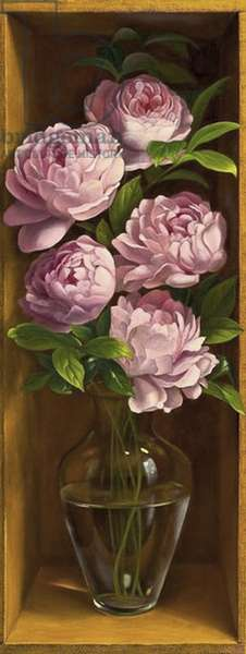 Peonies (oil on panel)