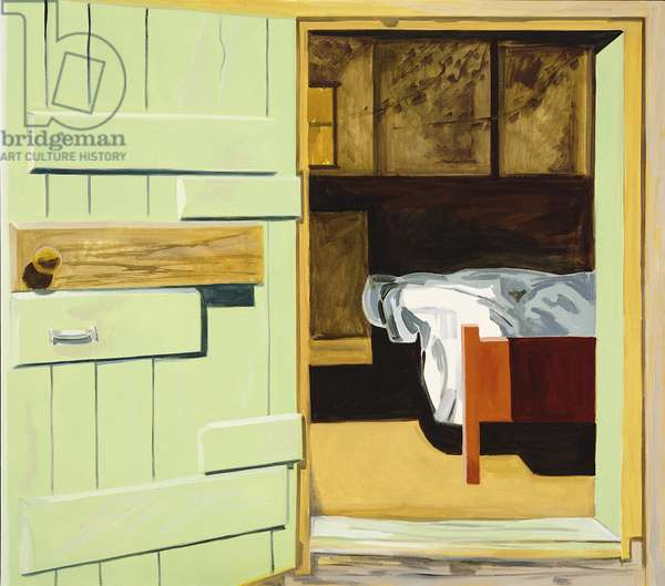 Green Door and Bed, 1994 (oil on canvas)