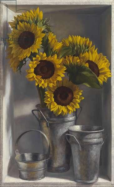 Sunflowers (oil on panel)
