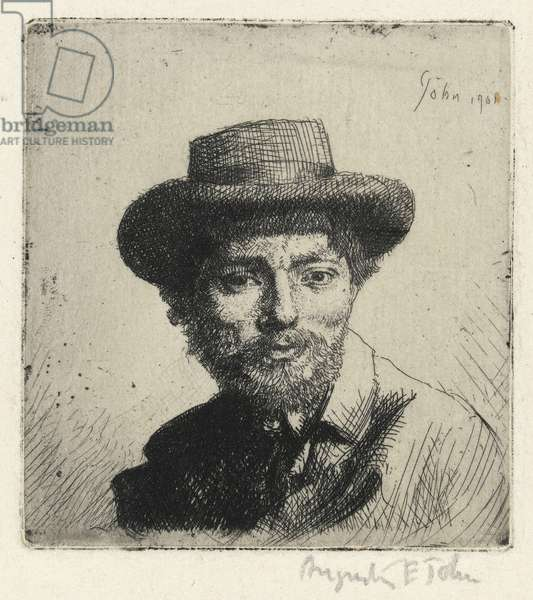 Portrait of the artist: bust, full face, in a hat, 1901 (etching)