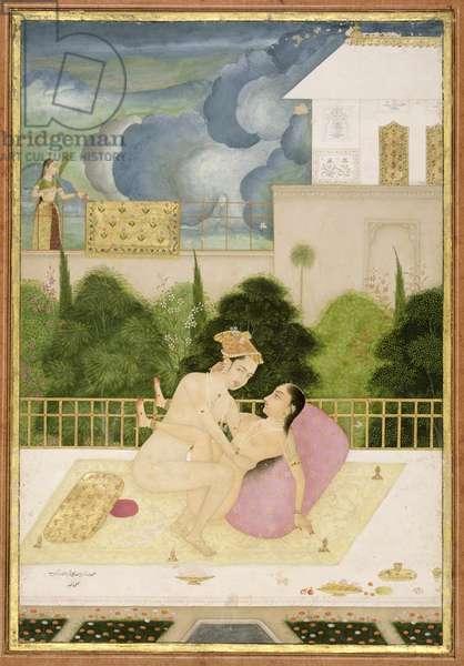 The private pleasure of Prince Muhammad Agar, son of Aurangzeb by Rashid, Bikaner, Rajasthan, Rajput School, c.1678-98, (gouache on paper)