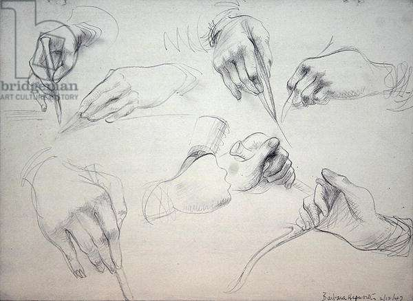 Study of Surgeon's Hands, 1947 (graphite on gesso on strawboard)