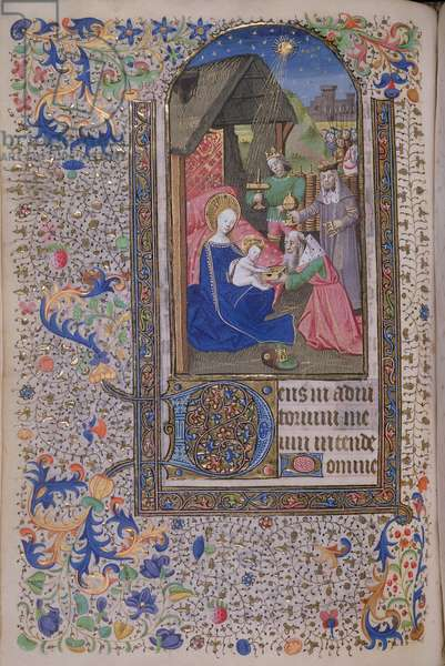 MS 74 f.75v The Adoration of the Magi from a Book of Hours, French, c.1480 (vellum)