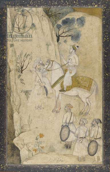 A prince on horseback, with five attendants, regarding a waterfall (w/c with pen & ink, graphite and gold on paper)