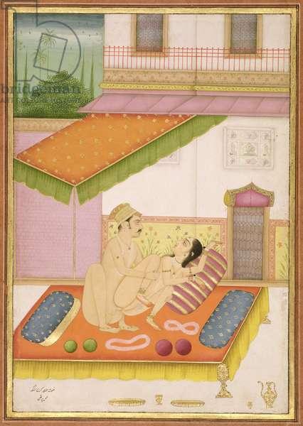 The private pleasure of Raja Karan by Pirthi, Bikaner, Rajasthan, Rajput School, c.1678-98, (gouache on paper)