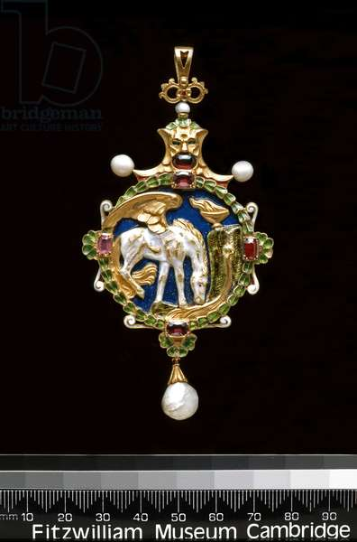 Pendant: Pegasus Drinking from the Fountain of Hippocrene (gold, enamel, pearl & w/c)