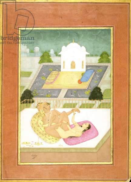 The private pleasure of Emperor Akbar: the Emperor and his consort make love on a bed of brocade cushions; on a balcony, in the back- ground a summer house surrounded by water with ducks and water lilies, by Lal, Bikaner, Rajput School, Rajasthan, c.1678-98 (gouache on paper)