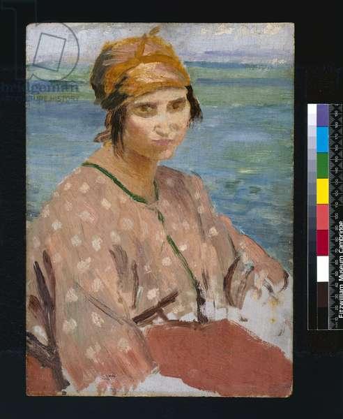 Dorelia Wearing a Turban, 1912 (oil on panel)