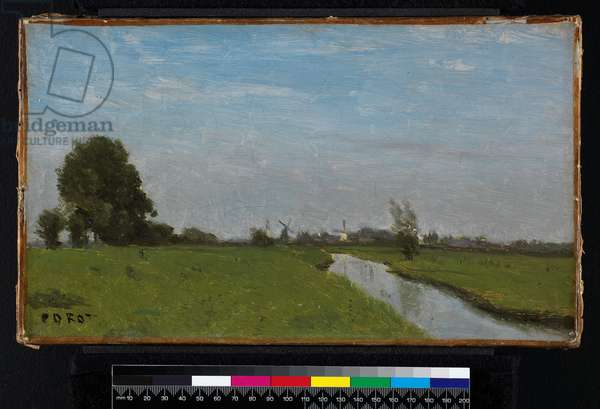Dutch Landscape in Holland, 1854 (oil on canvas)