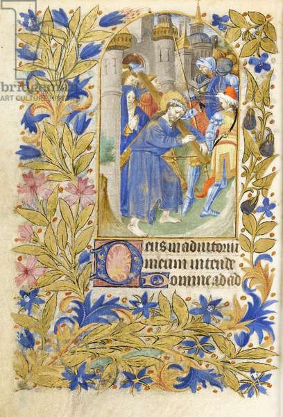 MS 39-1950 f.146v Christ Carrying the Cross, 1464 (gold, silver & coloured ink on parchment)