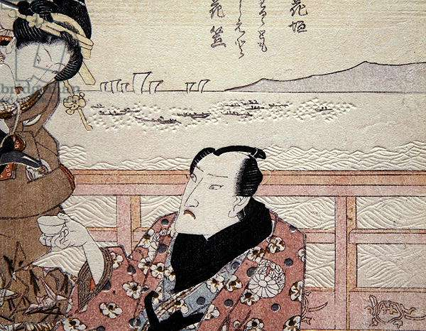 Detail of Onoe Kikugoro III taking tea at Shinagawa c.1825 (coloured woodblock print) (see also 282742)