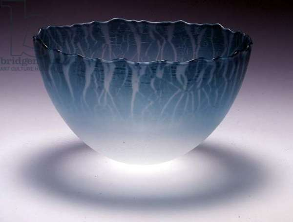 C.8-1988 Bowl, coated on the inside with stannous chloride, sandblasted and polished, by Malcolm Sutcliffe, 1988 (clear and turquoise glass)