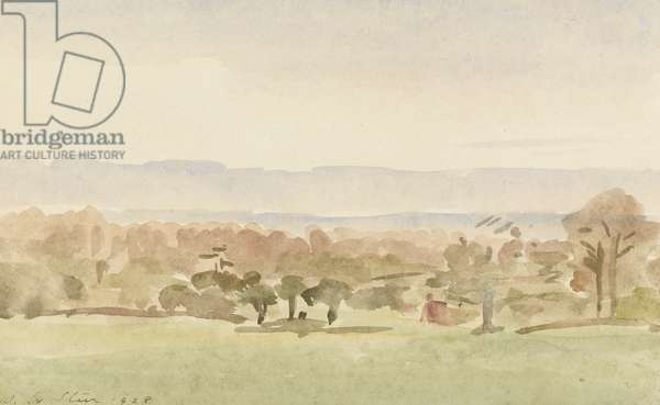 Landscape, possibly Framlingham, Suffolk (w/c on paper)