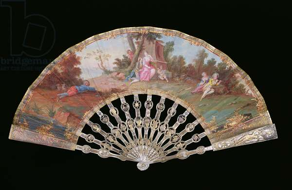 Folding Fan decorated with Pastoral Scenes Including 'Rustic Lovers', French, c.1760 (gouache and gilt on paper with mother-of-pearl sticks)