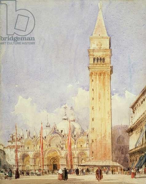 Piazza San Marco, Venice, c.1826 (graphite & w/c on paper)