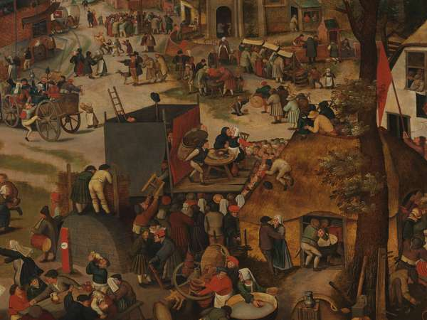 A Village Festival with a Theatrical Performance and a Procession in Honour of St Hubert and St Anthony (detail), 1632 (oil on panel)