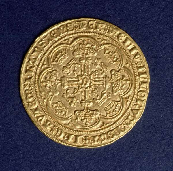Noble of Edward III (1312-77) reverse showing a cross pattern, Calais mint, introduced 1344 (gold) (for obverse see: 110161)