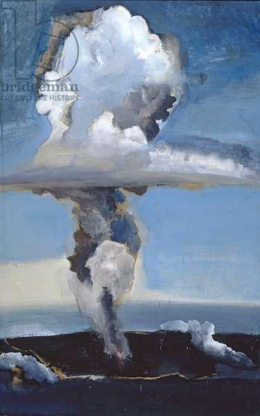 Eruption Column at 20,000 Feet, Heimæy, Iceland, 1976 (oil on board)