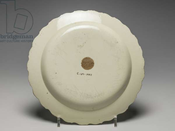 Reverse of plate, Wedgwood Factory, Staffordshire (lead-glazed earthenware)