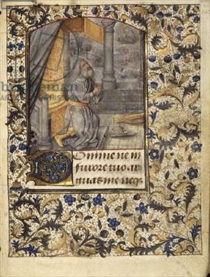 Ms 86 f.142r King David kneeling in prayer from a Book of Hours, c.1480