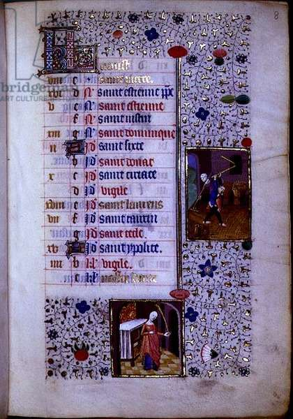MS.74.f8r Threshing, Virgo, Calendar Page for August from a French Horae, c.1480 (vellum)