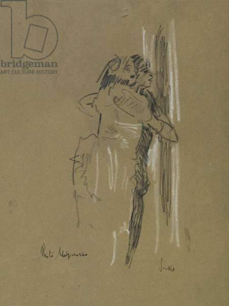 Two standing figures, c.1907 (black & white chalk on faded blue paper)