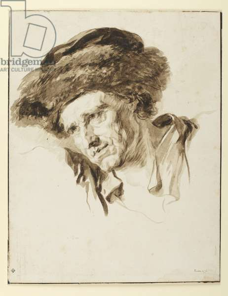 Head of a man wearing a fur cap, 1774 (pen & ink, wash and graphite on paper)