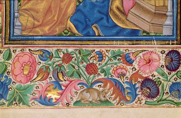 Ms 56 f.15v Border detail showing a rabbit amongst flowers, from a Book of Hours, English and Flemish, 15th century