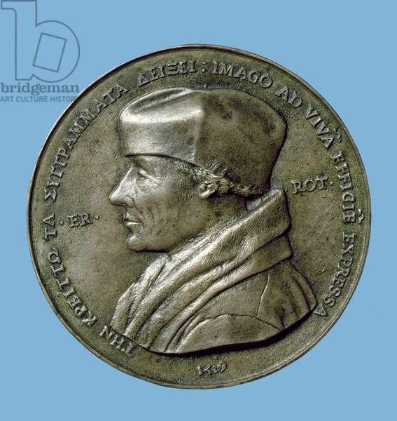 Portrait medallion of Erasmus (1465/6-1530) 1519 (bronze) (obverse)