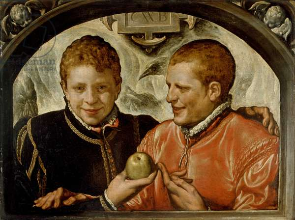 Two Young Men (oil on panel)