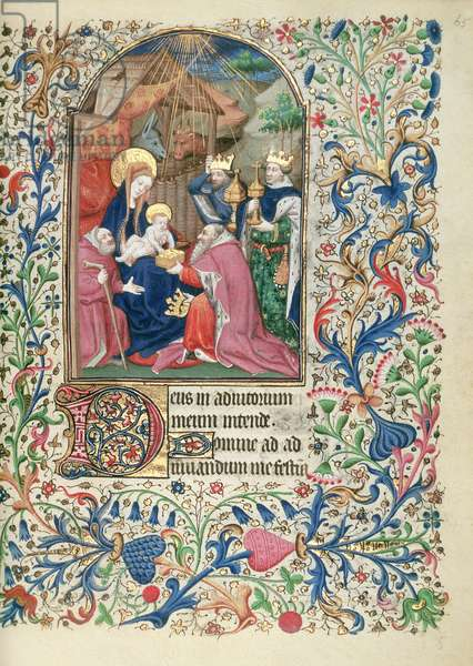 Ms 63 f.65r Adoration of the Magi, from a Book of Hours, c.1460 (vellum)