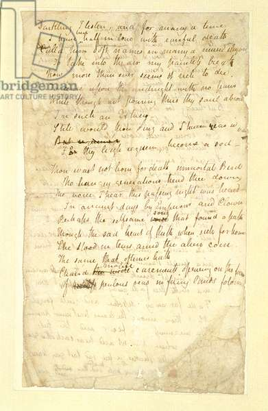 f.lv Ode to a Nightingale, Poem by John Keats (1795-1821) page:1, verso, 1819 (ink on paper)