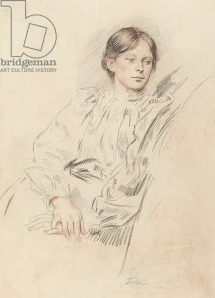 A seated lady, Miss Grace Westray, c.1895/6 (red & black chalk on paper)