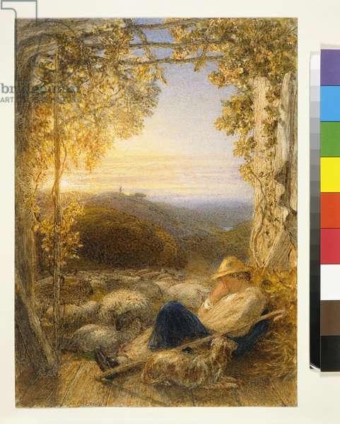 Sleeping Shepherd - Morning, c.1857 (w/c on paper)